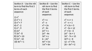 Nth Term Quadratic Worksheets & Teaching Resources | TpT