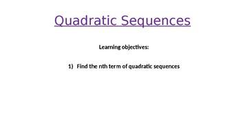 Nth Term of Quadratic Sequences