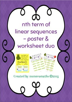 Nth term of linear sequences - Poster & worksheet duo