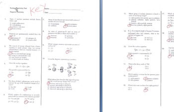 Nuclear Chemistry High School Test (regents w/ key)