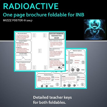 Nuclear Chemistry: Radioactive Decay & Dating Brochure Foldable for INB
