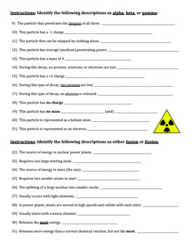 nuclear chemistry review worksheet fusion fission alpha beta gamma decay. Black Bedroom Furniture Sets. Home Design Ideas