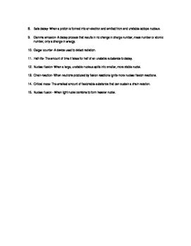 Nuclear Chemistry Vocabulary Quiz