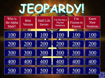 Nuclear Decay and Radiation Jeopardy Game with Scorecard