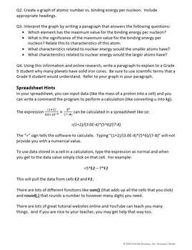 Nuclear Energy: Binding Energy Graphing Assignment [EDITABLE]