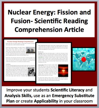 Nuclear Energy: Fission and Fusion - A Science Reading Comprehension ...