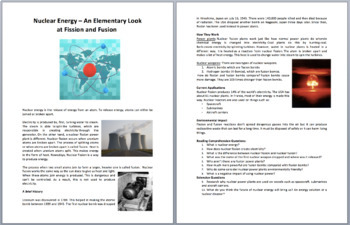 Nuclear Energy – Fission and Fusion - Science Reading Article - Grades 5-7