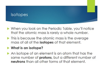 Nuclear Energy: Isotopes - PowerPoint, Note and Homework [EDITABLE]