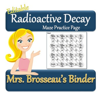 Nuclear Energy: Radioactive Decay - Maze Review or Homework [EDITABLE]