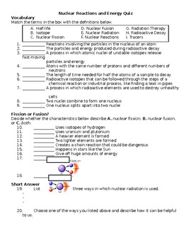 Nuclear Reactions and Energy Quiz