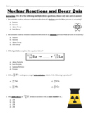 Nuclear Reactions and Nuclear Decay Quiz
