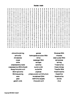 Nucleic Acids Vocabulary Word Search for Biological Chemistry