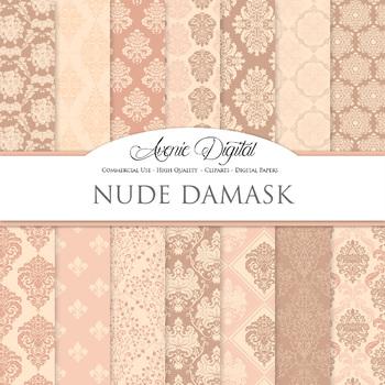 Nude Pink Damask Digital Paper patterns ornate brown wedding floral backgrounds