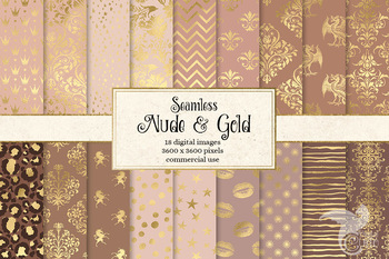 Nude and Gold Digital Paper, seamless tan brown bronze gold patterns