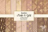 Nude and Gold Digital Paper, seamless tan brown bronze gol