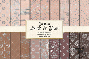 Nude and Silver digital paper, naked skin tone seamless patterns