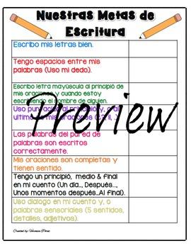 Nuestras Metas De Escritura/ Our Writing Goals Poster