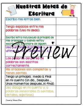 Nuestras Metas De Escritura/ Our Writing Goals Poster (with Student clip-art)
