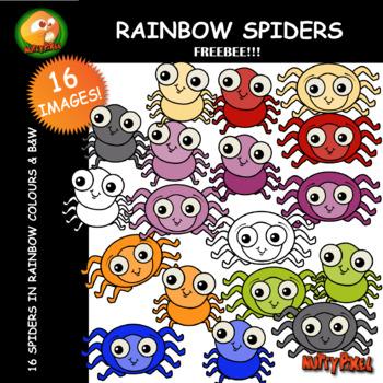 Nutty Rainbow Spider Clip Art FREEBEE!