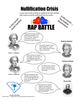 Nullification Crisis Rap Battle (Incudles prefilled out and blank)
