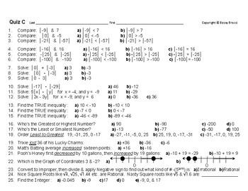 Num & Ops 09: Quiz C Classifying, Integers, Graphing, Inequalities, Abs Value