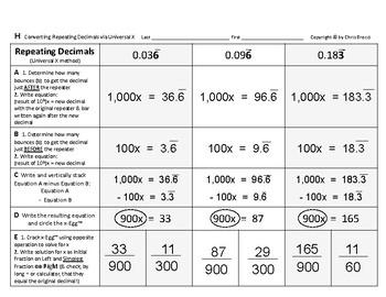 Num & Ops 14: Converting Convert Repeating Decimals Universal Algebraic X-Method