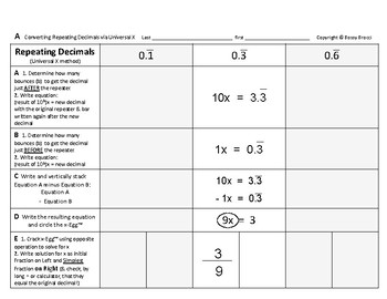 Num & Ops 14: Converting Repeating Decimals (Universal X-Method)