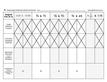 Num & Ops 18: Comparing and Ordering Fractions & Decimals