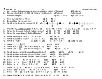 Num & Ops 22: Numbers & Operations Unit Test