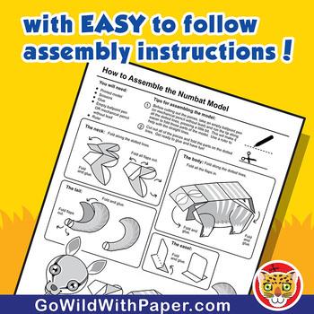 Numbat Craft Activity   3D Paper Model