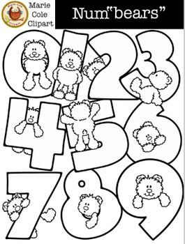 """Num""""bears"""" Numbers 0 - 9 [Marie Cole Clipart] UPDATED!"""