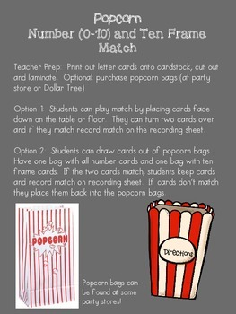 Numbers (0-10) and Ten Frame match game - popcorn theme - Kindergarten