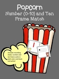 Numbers (0-10) and Ten Frame match game - popcorn theme -
