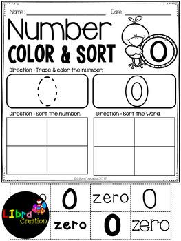 Number 0 - 20 Color & Sort