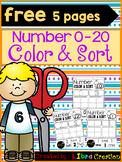 Number 0 - 20 Color & Sort Freebies