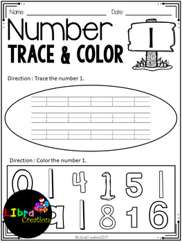 Number 0 - 20 Trace & Color
