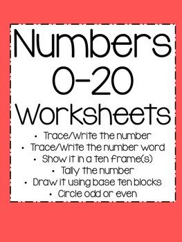 Number 0-20 Worksheets