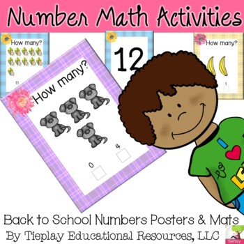 Numbers 0-25 Math Posters with Sunflowers Plaid Learning Decor Center Station