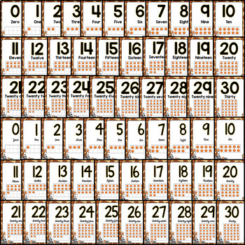 Number Posters (0 to 30) Safari Jungle Classroom Theme BACK TO SCHOOL