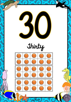 Number Posters (0 to 30) Under the Sea Classroom Theme BACK TO SCHOOL