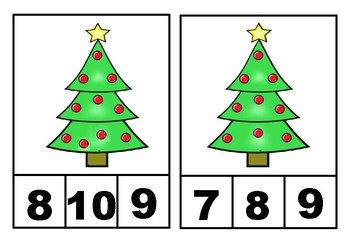 Number 1-10 Clip Cards | Number Recognition (Christmas tree)