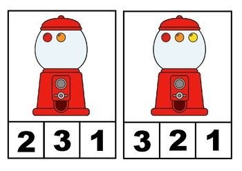Number 1-10 Clip Cards | Number Recognition (Gumball machine)