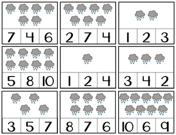 Number 1-10 Clip Cards | Number Recognition | Spring Themed