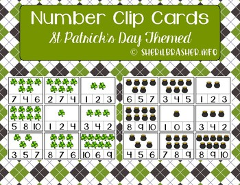 Number 1-10 Clip Cards | Number Recognition | St Patrick's Day Themed