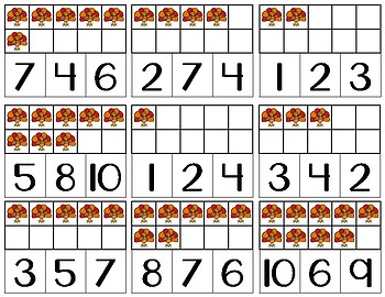 Number 1-10 Clip Cards | Ten Frames | Fall & Thanksgiving Themed