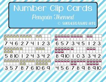 Number 1-10 Clip Cards | Ten Frames | Penguin Themed