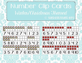 Number 1-10 Clip Cards | Ten Frames | Winter & Christmas Themed