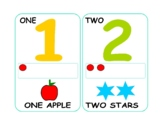 Number 1-10 Colorful Flashcards Printable with Counting Dots