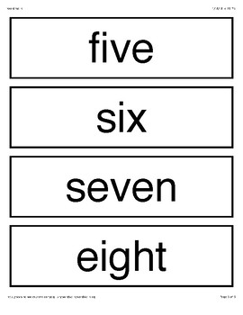 Number 1-10 FlashCards Words