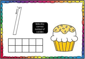 Number 1 - 10 Play Dough / Doh Mats - Cupcake Theme
